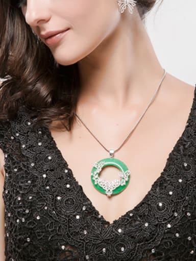 Copper inlaid AAA zircon fashion Chinese style imitation jade atmosphere necklace