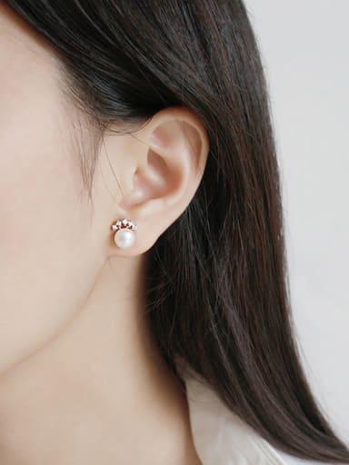 Sterling silver micro-encrusted freshwater pearl crown stud earrings