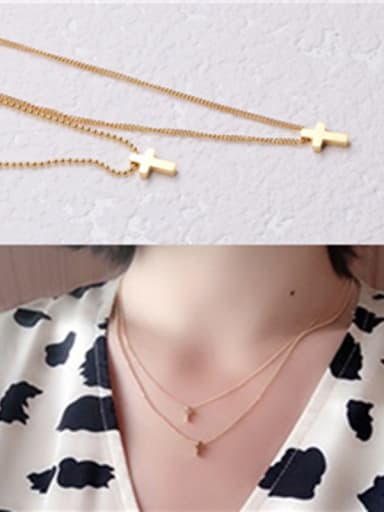 Titanium With Gold Plated Simplistic Cross Multi Strand Necklaces