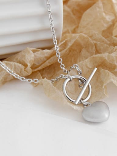925 Sterling Silver With Platinum Plated Simplistic Heart Locket Necklace