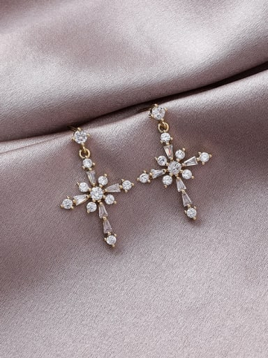 Alloy With Gold Plated Personality Cross Drop Earrings
