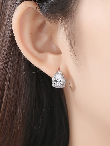 Copper  With Platinum Plated Luxury Geometric Stud Earrings