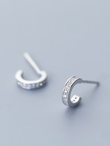 925 Sterling Silver With Silver Plated Personality C-shaped Stud Earrings