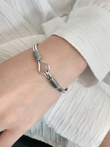 925 Sterling Silver With Antique Silver Plated Vintage Irregular Bangles