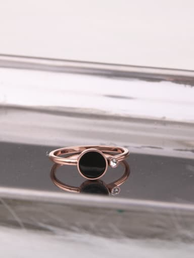 Titanium With Rose Gold Plated Simplistic Round Band Rings