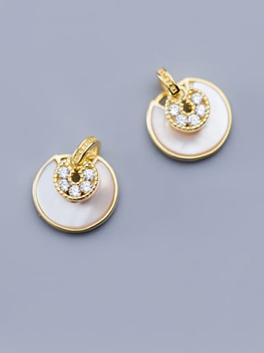 925 Sterling Silver With Gold Plated Classic Round Stud Earrings