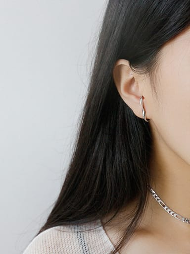 925 Sterling Silver With Smooth Simplistic Irregular Stud Earrings