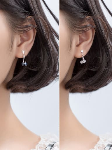 925 Sterling Silver With Glass Fashion Geometric Drop Earrings
