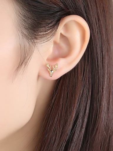 925 Sterling Silver With Gold Plated Simplistic Antlers Stud Earrings