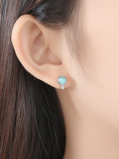 925 Sterling Silver With Turquoise Vintage Sliver Round Stud Earrings