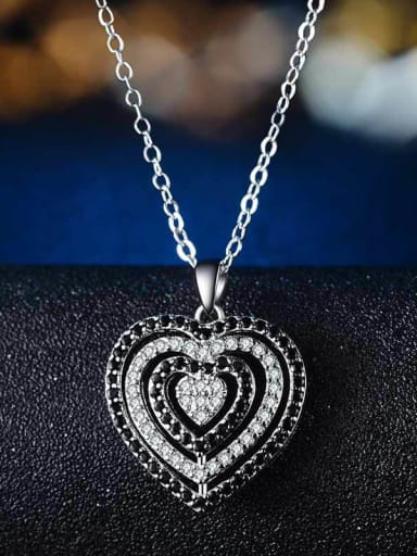 Copper With Cubic Zirconia Cute Heart Locket Necklace