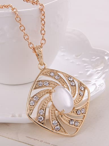 Alloy Imitation-gold Plated Fashion Artificial Stones Square-shaped Pieces Jewelry Set