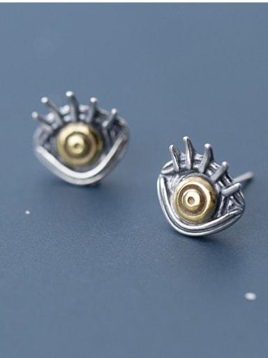 Thai Silver With Gun Plated Vintage Evil Eye Stud Earrings