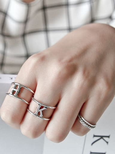 925 Sterling Silver With Silver Plated Simplistic Monogrammed free size Rings