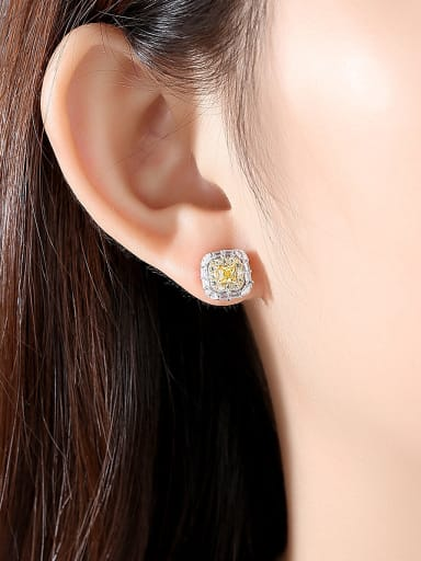 925 Sterling Silver With Platinum Plated Simplistic Geometric Stud Earrings