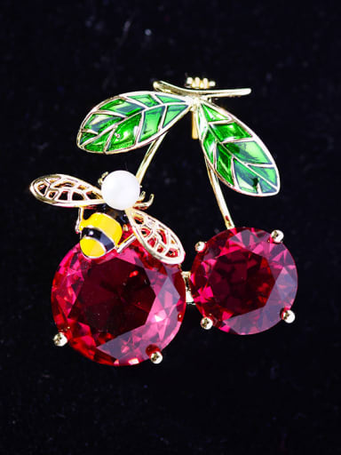 Copper With Cubic Zirconia Cute Friut Cherry Brooches