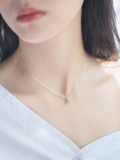 Women Fresh Letter V Shaped S925 Silver Necklace