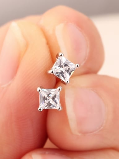 Classic 4mm Square Zircon Diamond Four Claw Simple and Multipurpose stud Earring