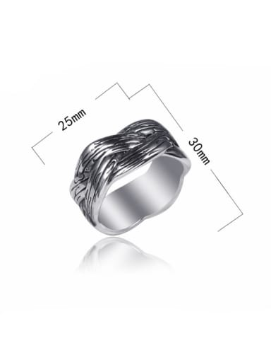 Stainless Steel With Antique Silver Plated Simplistic Irregular Rings