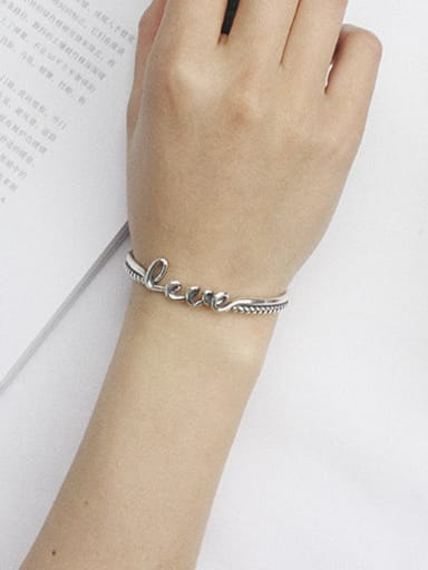 Personalized LOVE Antique Silver Plated Opening Bangle