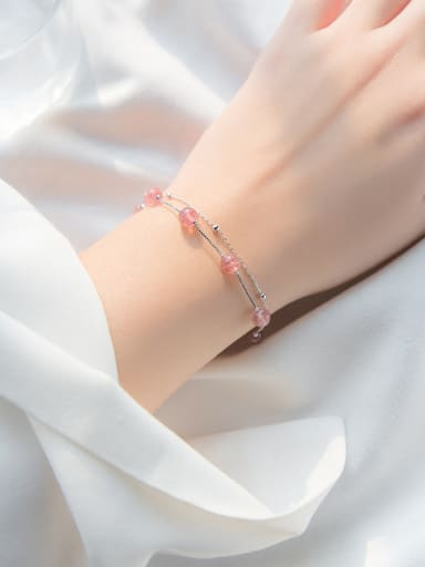 All-match Double Layer Pink Crystal S925 Silver Bracelet