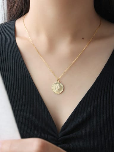 Sterling Silver Elizabeth coin gilded Pendant Necklace