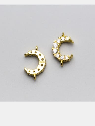 925 Sterling Silver With Silver Plated and Micro inlaid zirconium moon Connectors