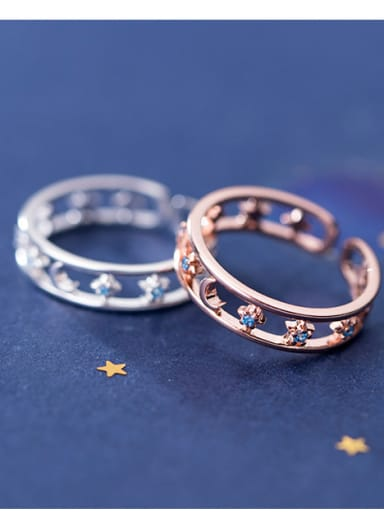 925 Sterling Silver With Rose Gold Plated Simplistic Star Moon Free Size Rings