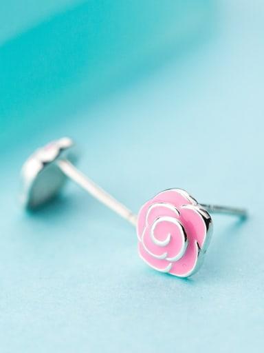 Women Pink Flower Shaped Glue Stud Earrings