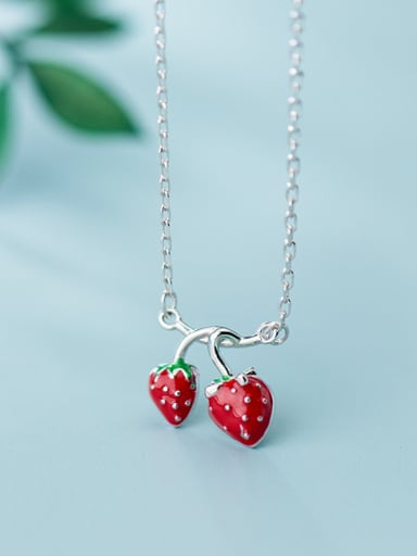 925 Sterling Silver With Platinum Plated Simplistic Friut Cherry Necklaces