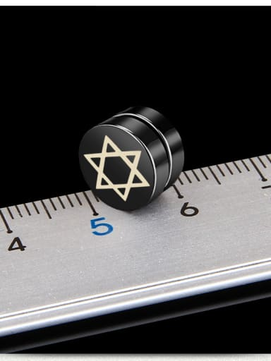 Stainless Steel With Black Gun Plated Personality Star of david Stud Earrings