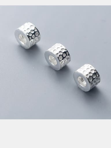 925 Sterling Silver With Platinum Plated Personality Geometric Roar  Beads