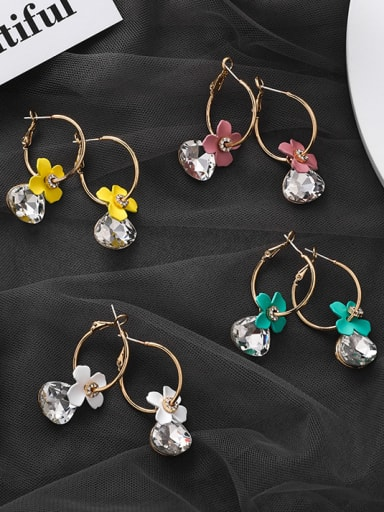 Alloy With Cubic Zirconia  Fashion Acrylic  Flower Hoop Earrings