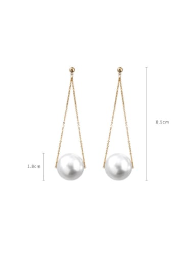 Alloy With Rose Gold Plated Fashion Fringe  Artificial Pearl Threader Earrings