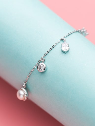 Women Temperament S925 Silver Artificial Pearl Bracelet