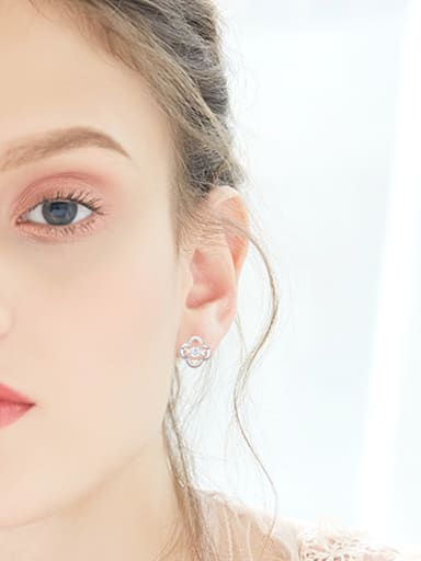 Tiny Hollow Four-leaf Clover Rotational Cubic Zircon 925 Silver Stud Earrings