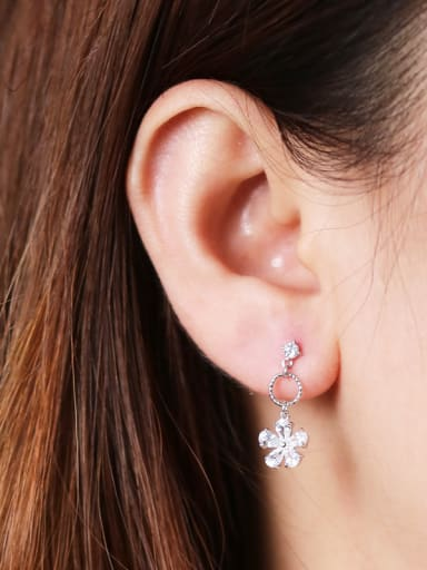 925 Sterling Silver With Cubic Zirconia Fashion Flower Drop Earrings