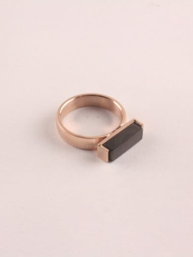 Rose Gold Black Agate Retro Ring