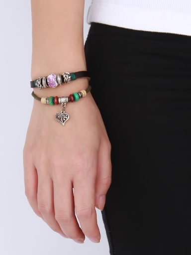 Personality Heart Shaped Artificial Leather Alloy Bracelet