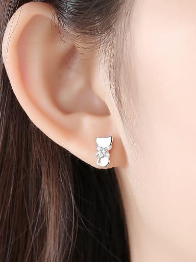 925 Sterling Silver Cubic Zirconia  Cute Cat Stud Earrings