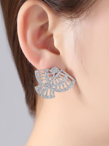 Copper With White Gold Plated Fashion Statement Stud Earrings