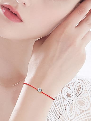 Simple Cubic Zircon Red Rope Copper Bracelet