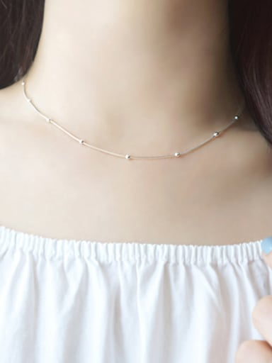 Simple Tiny Beads Silver Women Necklace