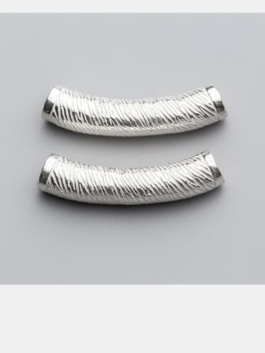 925 Sterling Silver With Silver Plated Striped Bent Pipe