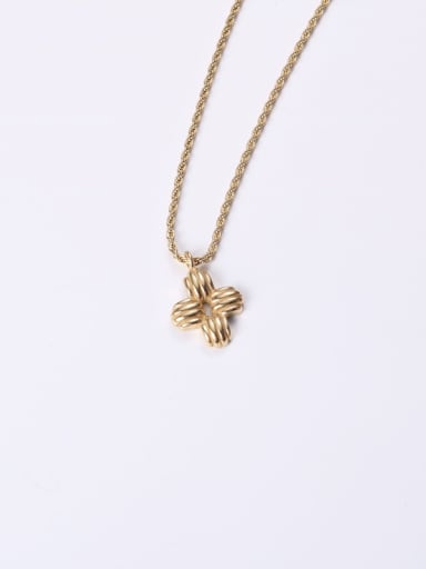 Titanium With Gold Plated Simplistic Cross Necklaces