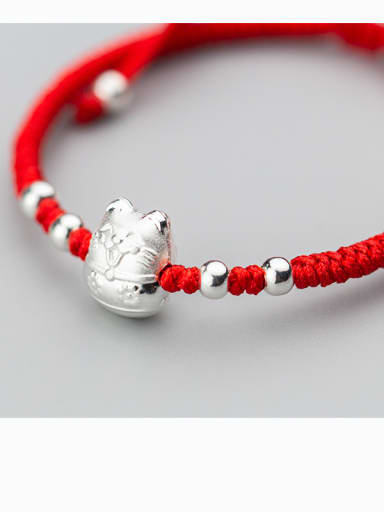 999 Sterling Silver With Silver Plated Cute Cat Woven & Braided Bracelets
