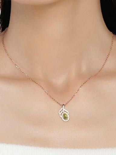 Leave-shape Natural Olive Rose Gold Plated Pendant