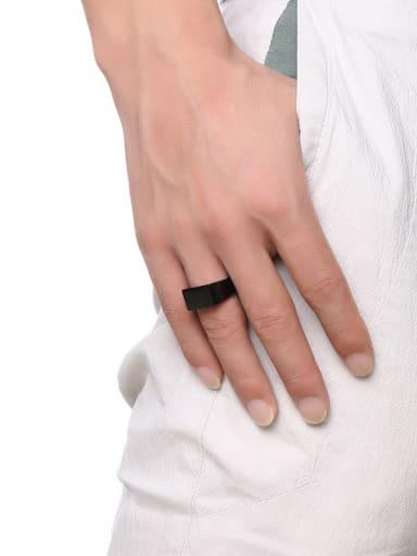 Exquisite Black Gun Plated Geometric Shaped Titanium Ring