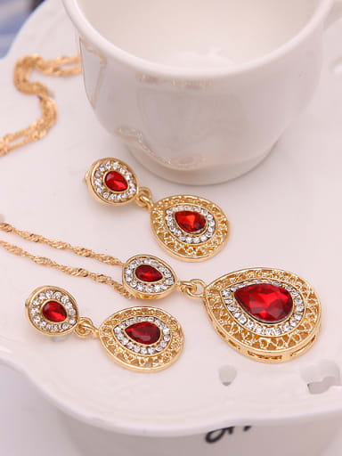 Alloy Imitation-gold Plated Fashion Water Drop shaped Stones Two Pieces Jewelry Set