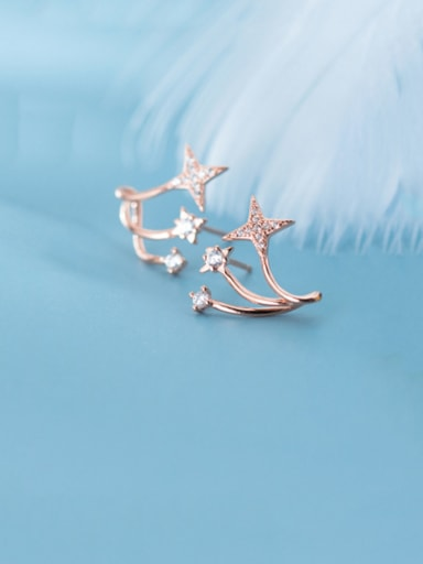 925 Sterling Silver With Cubic Zirconia Simplistic Star Stud Earrings